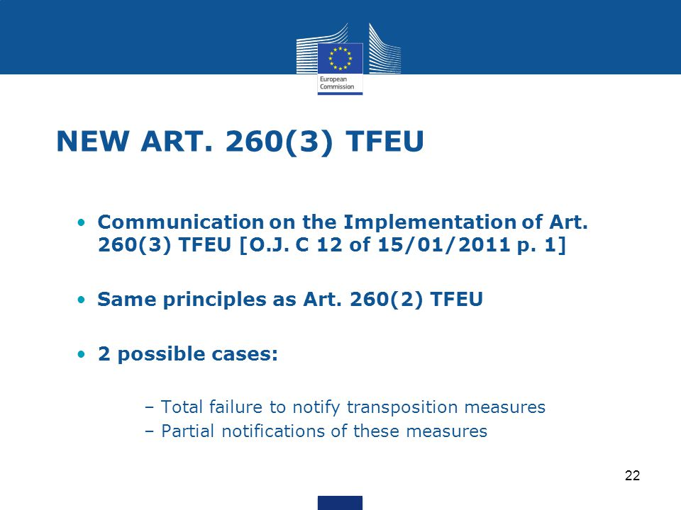 NEW ART. 260(3) TFEU Communication on the Implementation of Art. 260(3) TFEU [O.J. C 12 of 15/01/2011 p. 1]